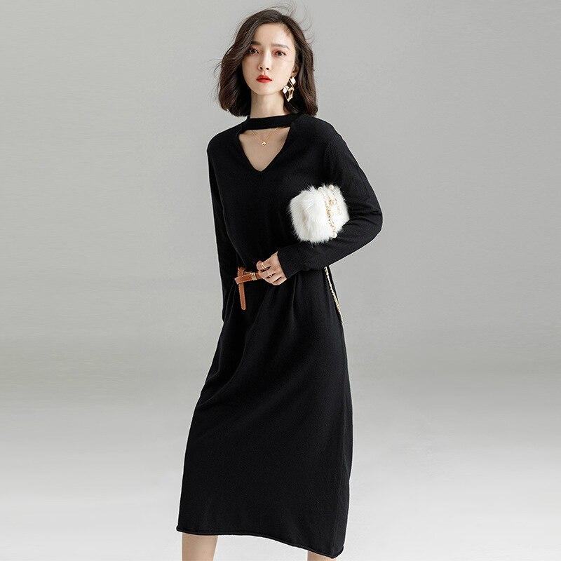 Winter Black Dress Elegant O-neck Long Sleeve Bodycon Bandage Dress Women Loose Warm Korea Office Knited Christmas Dress Women