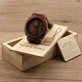BOBO BIRD Мужская Мода Красного Дерева Часы Японский Кварцевый Наручные Часы Мужчины Relógio-Коричневый Кожаный Ремешок, в деревянной Коробке.