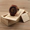 BOBO BIRD Fashion Men Red Wood Watches Japanese Movement Quartz Wristwatch Male Relogio - Brown Genuine Leather Strap, Wood Box