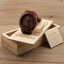 БОБО ПТИЦА Мужская Мода Красного Дерева Часы Японский Кварцевый Наручные Часы Мужчины Relógio-Коричневый Кожаный Ремешок, в деревянной Коробке.