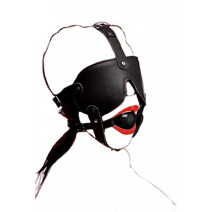 Leather Black Rubber Gag And Blindfold Head Harness,Sex Mask Muzzle Restraint Bondage,Role Play System