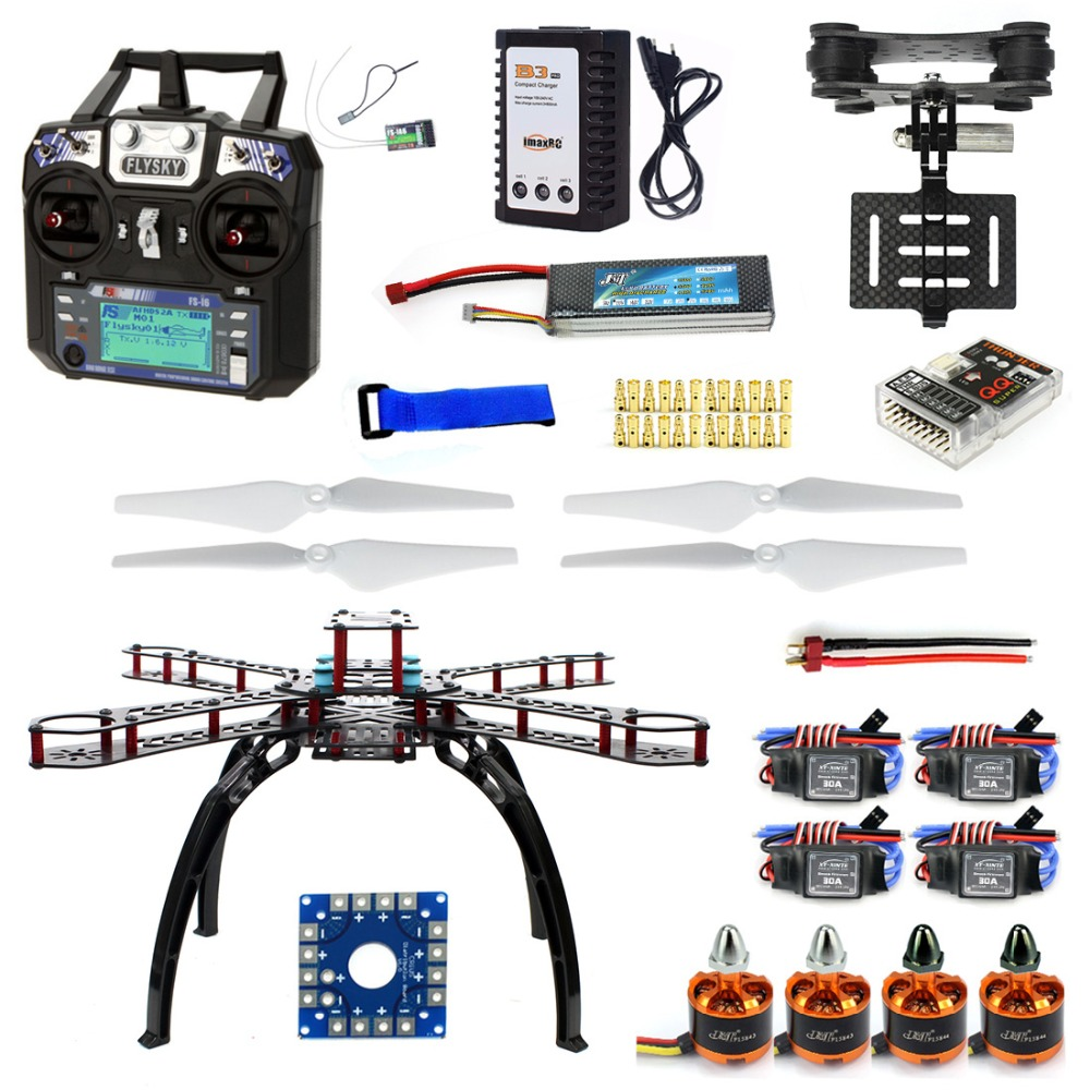 Full Kit DIY RC Drone Quadrocopter X4M380L Frame Kit QQ Super TX Gimbal F14893-O diy rc drone quadrocopter rtf with x4m380l frame kit qq super fs i6 tx f14893 h