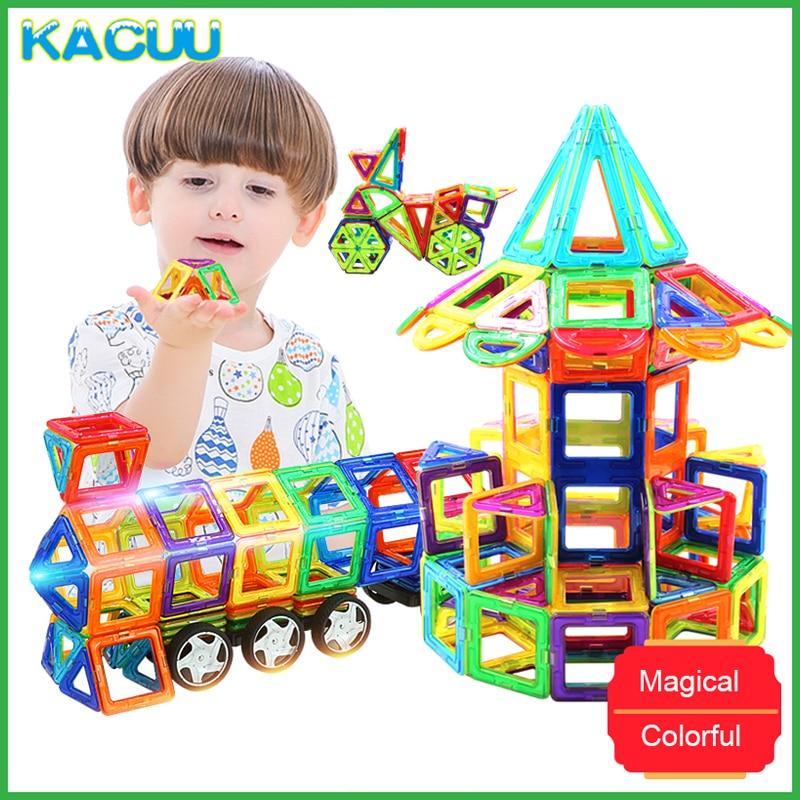 KACUU 71-149 pièces grande taille 3D bricolage constructeur blocs de construction magnétique Designer carré Triangle éclairer briques jouets pour enfants