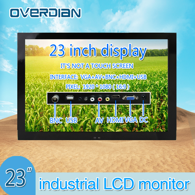 "23"" VGA/HDMI/AV/BNC/USB Interface Industrial Control Monitor/Display 1920*1080 Metal Shell Hanger Installation Non-Touch Screen"