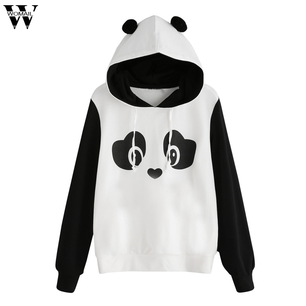 c47e01eab56b Womail women shirt blouses long sleeve Fashion Womens Panda Hoodie  Sweatshirt Hooded Pullover Jumper Tops Blouse Nov27