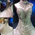 Vestido de casamento 2017 Nupcial de Luxo Halter Neck Lantejoulas Cristal vestido de Baile Vestidos de Noiva Vestidos Vestido De Noiva 2 metros de trem