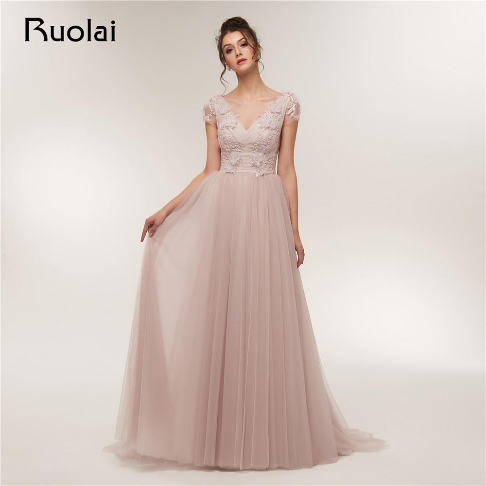 3a8fbf86aca24 US $198.75  Elegant Prom Dress 2019 Short Sleeves A Line Evening Dresses  Long Flower Beaded Lace Prom Party Dress Vestido de Fiesta RE10-in Prom ...
