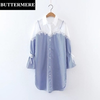 BUTTERMERE Long Sleeve Patchwork Shirt Lace Blouse Elegant Split Striped Shirt Bow Tie Top Womens Clothing
