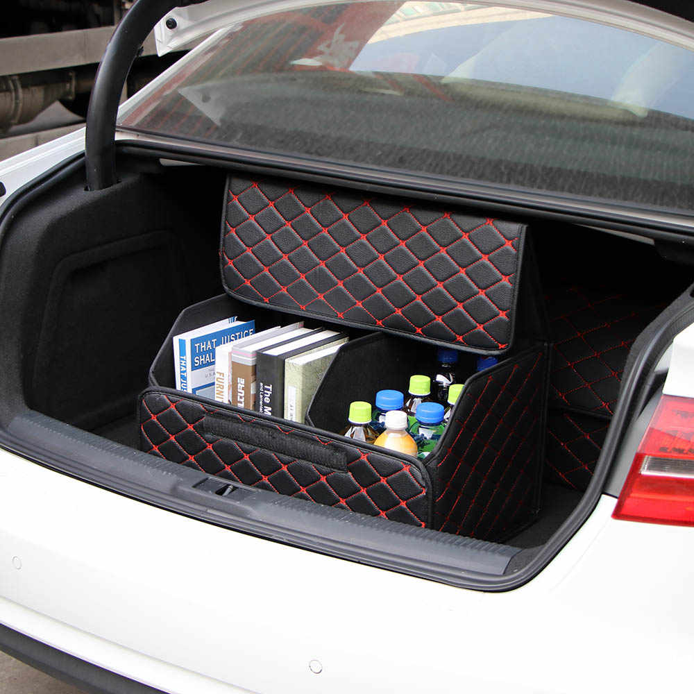 Car Trunk Organizer Box Storage Bag Auto Trash Tool Bag PU Leather Folding Cargo Storage Stowing Tidying Car Accessories