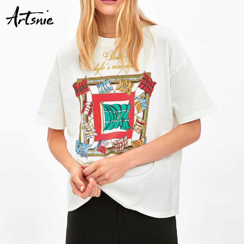 Artsnie streetwear cartoon casual women t shirt summer 2019 o neck short sleeve white tee tops mujer knitted t-shirt femme