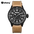 INFANTRY Mens Watches 2017 New Quartz Sports Watches Classic Brown PU Leather Glow In Dark Watches Military Army 30M Waterproof