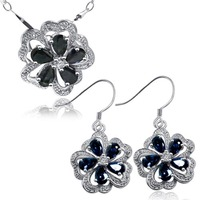 Fashion cute midnight blue sapphire flower shape jewelry sets ring genuine gem stone pendant necklace sterling 925 silver set