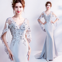 2018 New Arrival Elegant Sexy V neck with Sequined Gauza Shawl Mermaid Mother Evening Dress 7