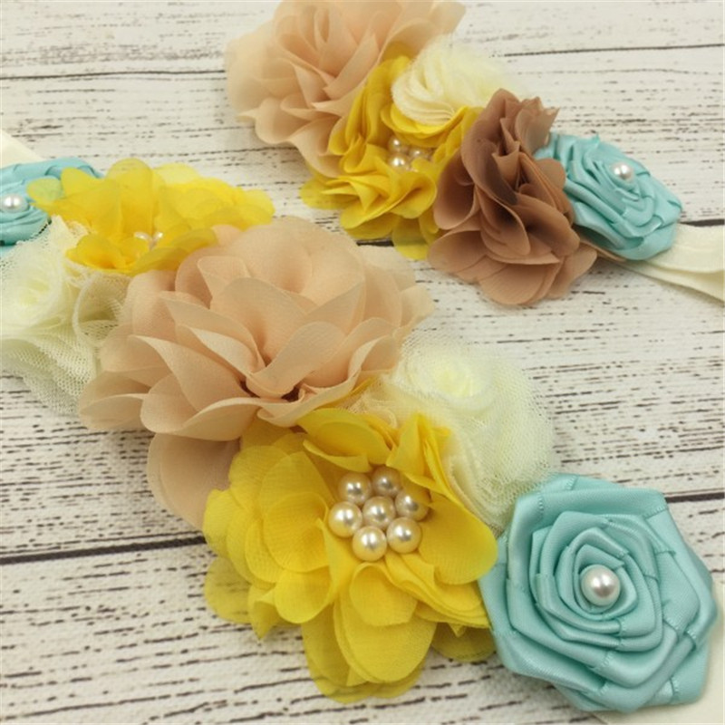 1set/lot 3styles Handmade Fashion Girls Headband Beautiful Chiffon Satin Flower Sash Belt with Pearl Mathcing Headband