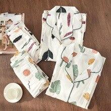 100% Garza di Cotone Sottile Maternità Usura Delle Donne Pajamas Set Allentato Allattamento Al Seno Vestiti Del Fumetto Degli Indumenti Da Notte di Autunno Più Il Formato Pigiama