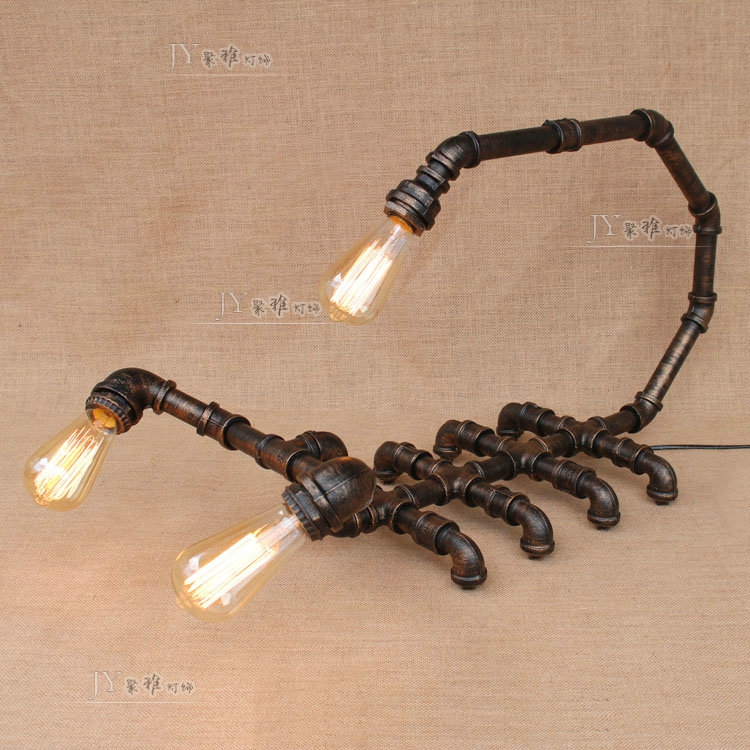 wind iron lamp bedroom living  Water pipes industrial room desk lamp library reading retro scorpion pipe lamp Table Lamps art deco industrial iron butterfly retro water pipe table lamp e27 desk lights reading lamps night light for living room bedroom