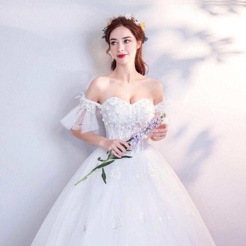 Elegant Ball Gown Wedding Dresses Sweetheart Neck Princess Bridal Party Dress Appliqued Off Shoulder Long vestido de noiva Stock