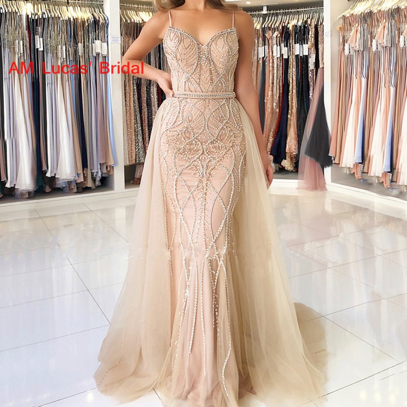 Long   Evening     Dresses   Prom Party Gown Tulle Detachable Skirt Women Formal Gown For Prom Wedding Party   Dresses   Robe De Soiree
