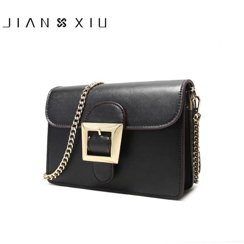 где купить JIANXIU Brand Women Messenger Bags Female Chain Shoulder Bag Belt Lock Decoration 2018 Fashion Small Split Leather Crossbody Bag по лучшей цене
