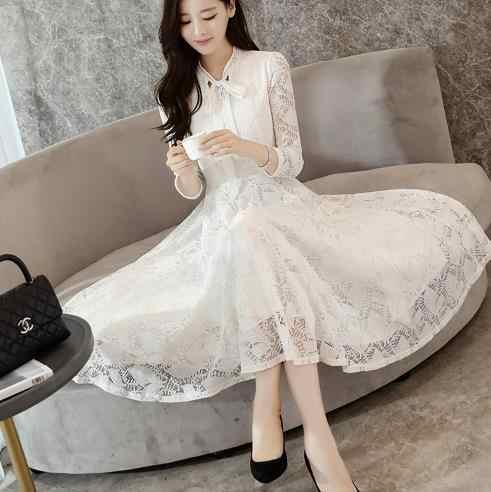 b17e668a55 Clobee 2017 Autumn Korean Style Women Dress Lace Long A Line Lolita Ladies  Dresses Full Sleeve Work Femme Vestidos Q725