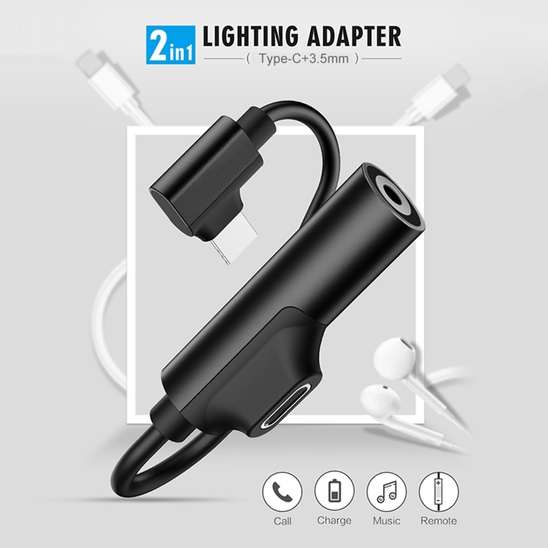 2 In 1 Adapter USB Type C To 3.5mm AUX Jack Earphone Cable Cord Audio Connector Converter Adaptor For Huawei Type-C Fast Charger