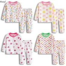 Hooyi/ г. Комплект одежды для маленьких девочек, детский Пижамный костюм длинная футболка+ штаны, одежда весенне-осенняя одежда для сна для малышей высокое качество, мягкая