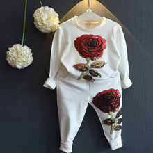 2016 New Spring Autumn Bear Leader kids Girls Clothing Sets  Wool Sportswear Long Sleeve Roses Floral Embroidered Sequin sets