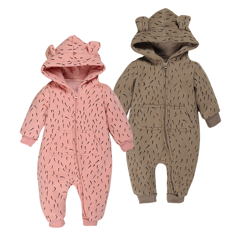 unisex baby winter clothes infantil baby boy girl costume long sleeve hooded   romper   jumpsuit zipper pocket newborn strampler