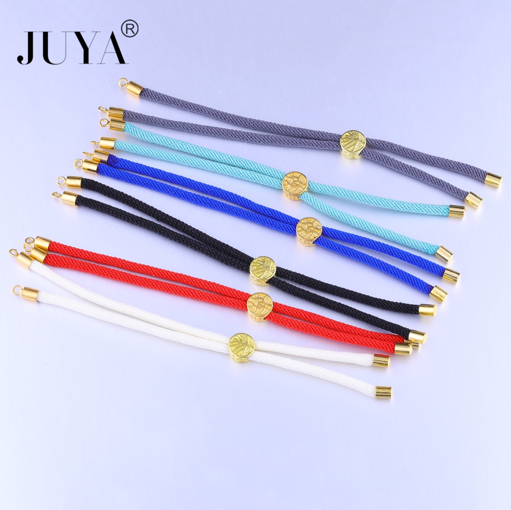 Jewelry Findings Components 2018 NEW Life Tree Slider Bead Black Red String Woven Adjustable Rope Chains For DIY Bracelet Making