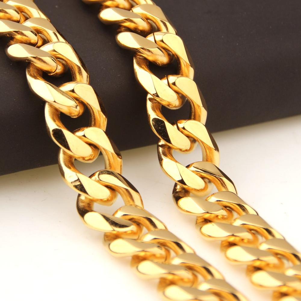 12/15mm Heavy Mens Chain Boys Necklace Curb Cuban Link / Bracelet Gold 316L Stainless Steel 7-40 inch Optional