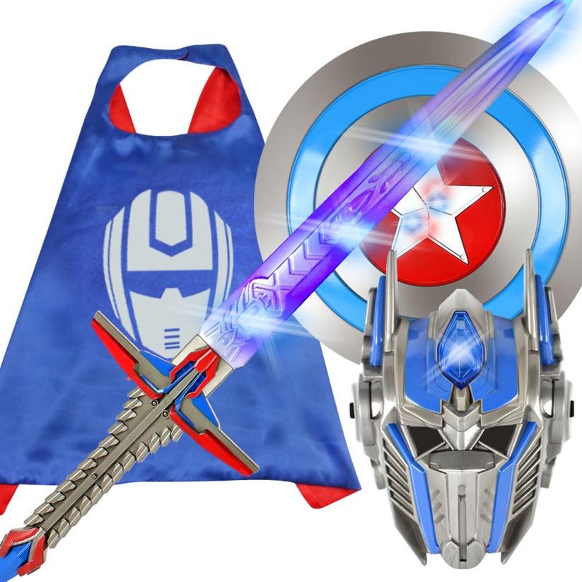 New Movie Hornet Optimus Column Deformation Robot Model King Kong Children's Mask Luminous Sword Toy  Glow Swords