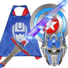 New Movie Hornet Optimus Column Deformation Robot Model King Kong Childrens Mask Luminous Sword Toy  Glow Swords