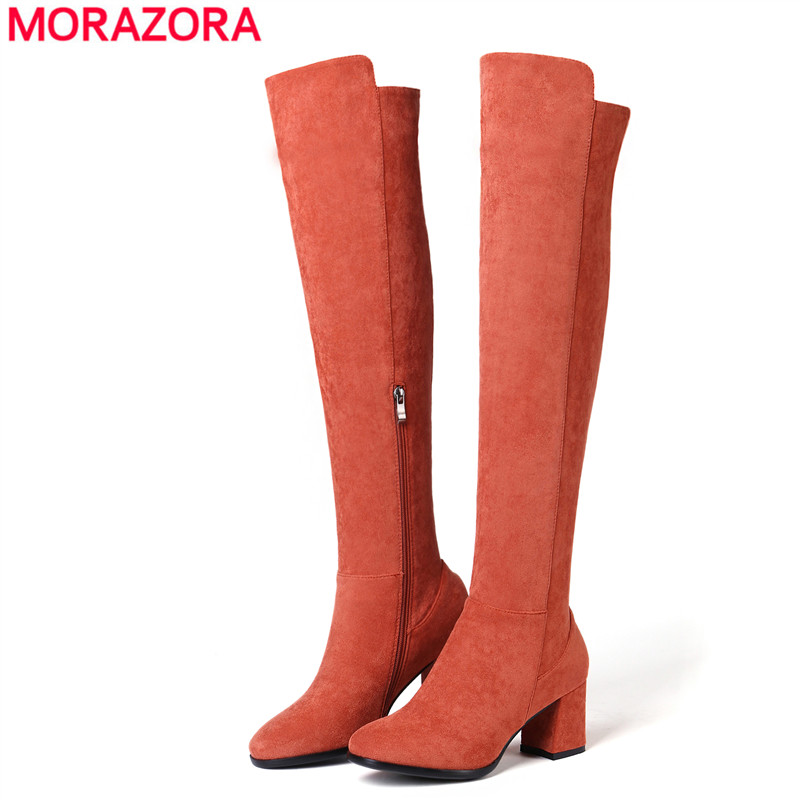 MORAZORA Size 34 43 HOT 2020 new fashion thigh high boots for women square high heels