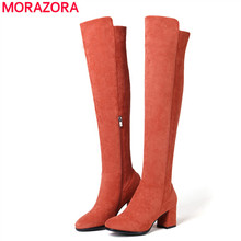 MORAZORA Size 34-43 HOT 2020 new fashion thigh high boots for women square high heels winter boots ladies over the knee boots