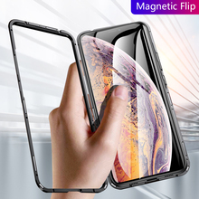 Magnetic Case For iPhone 7 6 6s 8 Plus X XS Max XR Metal Frame + Tempered Glass Business Anti-knock Phone Cover