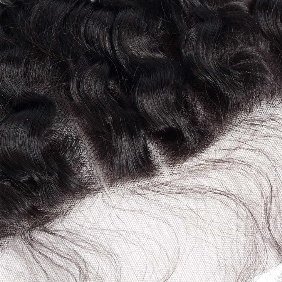 Cierre Frontal de encaje de oreja a oreja con paquetes de extensiones de cabello Remy rizado de onda profunda Natural negro peruano con Frontal cierre