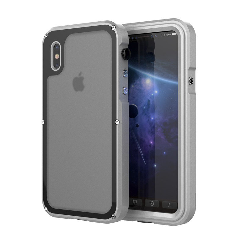 Luxury 3 Proofings Armor Case for iPhone X Metal Aluminum Dirt Shock Waterproof IP68 Case for iPhone 7 8 Plus Heavy Rugged Cover