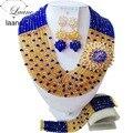 Роскошный королевский синий шампанское золото женщины ожерелья бижутерия нигерии свадебные африканские бусы комплект ювелирных изделий ABC886
