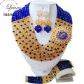 Luxury royal blue champagne gold women necklaces costume jewelry nigerian wedding african beads jewelry set ABC886