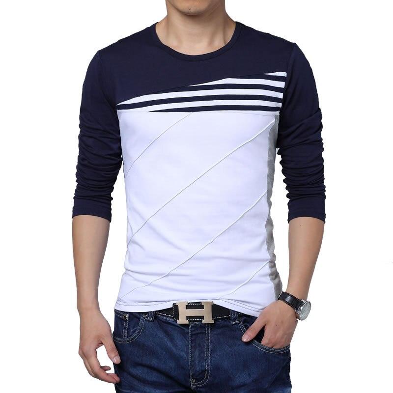 Camiseta Hombre 2018 invierno nueva manga larga cuello redondo Camiseta hombres marca ropa moda Patchwork algodón camisetas 7622
