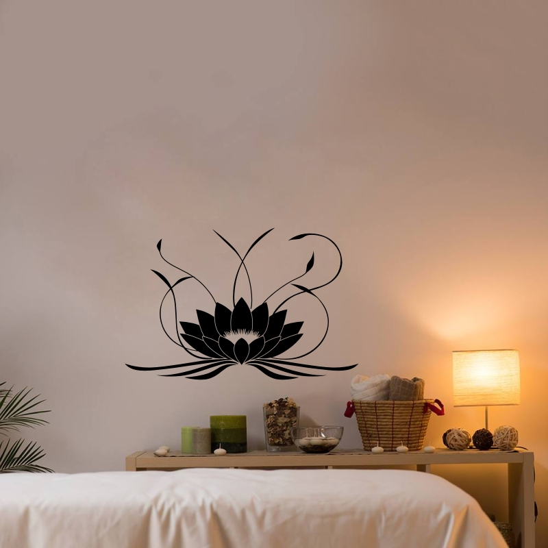 Lotus Flower Vinyl Wall Decal Yoga Studio Wall Home Design Waterproof Wall Sticker in Wall Stickers from Home Garden
