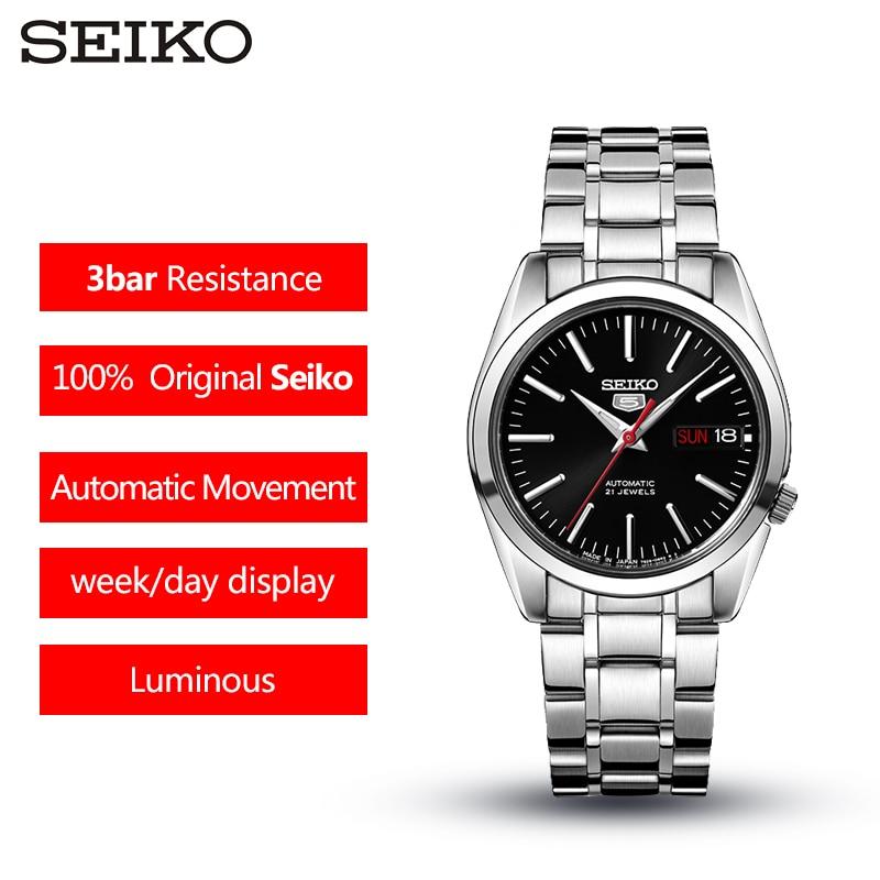 100% D'origine SEIKO No 5 Montre Mécanique Automatique Étanche Lumineux Affaires montre pour hommes Double langue SNKL41J1 SNKL45J1