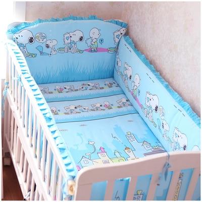 Промо акция! 6 шт. мультфильм детские кроватки Комплект Детская кроватка комплект 100% хлопок детские постельное белье, включают (бампер + лист