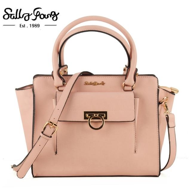 Sally Young International Brand Dress Solid Women Bags Patchwork Metal Ring Decoration Zipper Lady Handbags 5