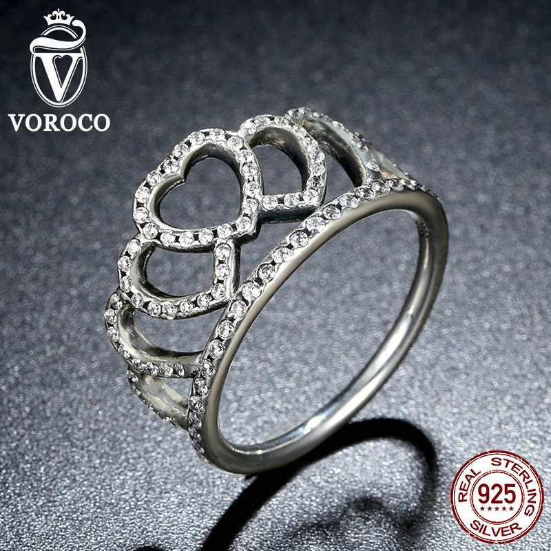 VOROCO 100 925 Sterling Silver Hearts Tiara Clear CZ Women Finger Ring Compatible with Original Jewelry