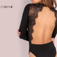 COLROVIE Backless Lace Patchwork Longsleeve Bodysuit