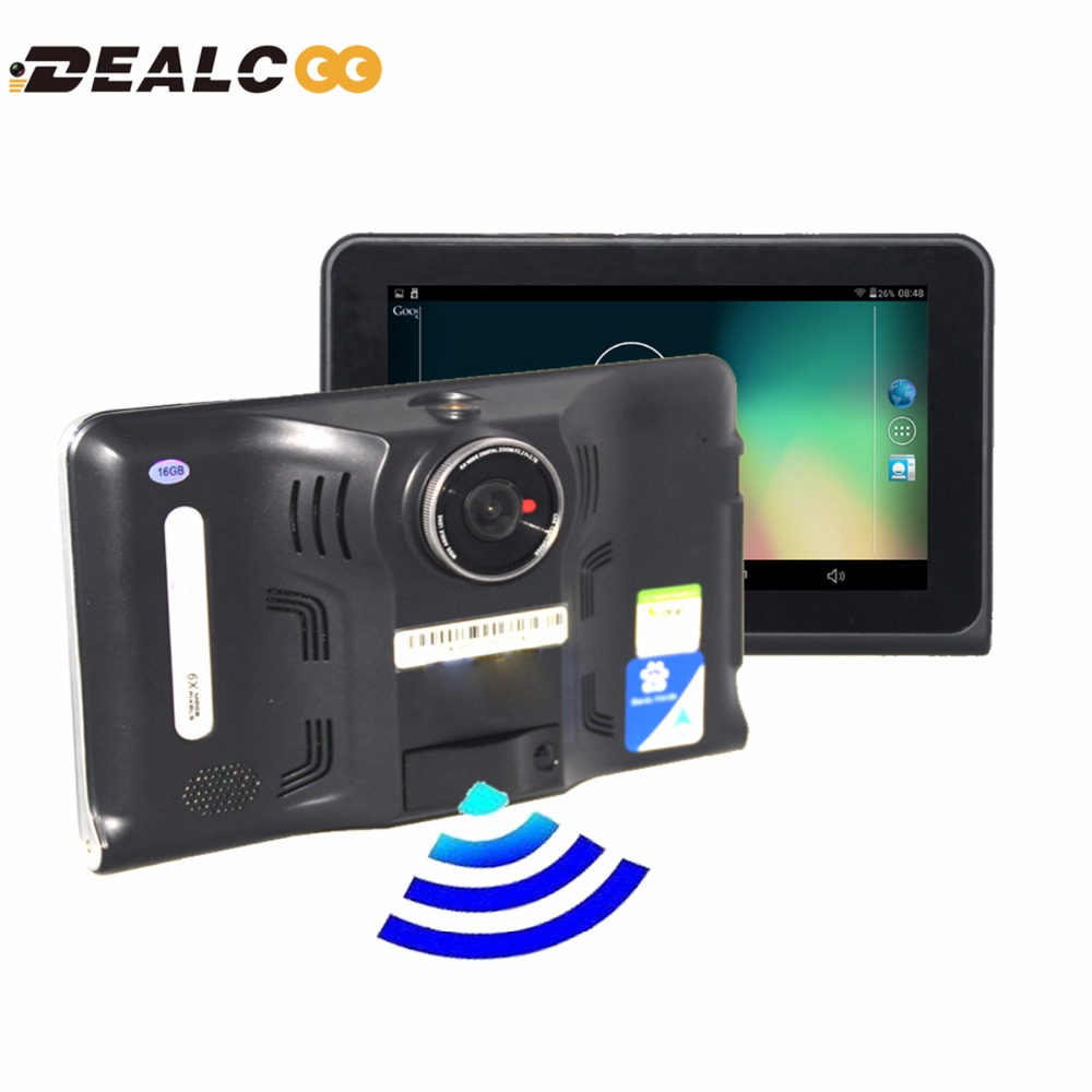 Dealcoo 7 capacitive car dvr camera video recorder android gps navigation radar detectors truck gps sat nav 16gb map free update in vehicle gps from