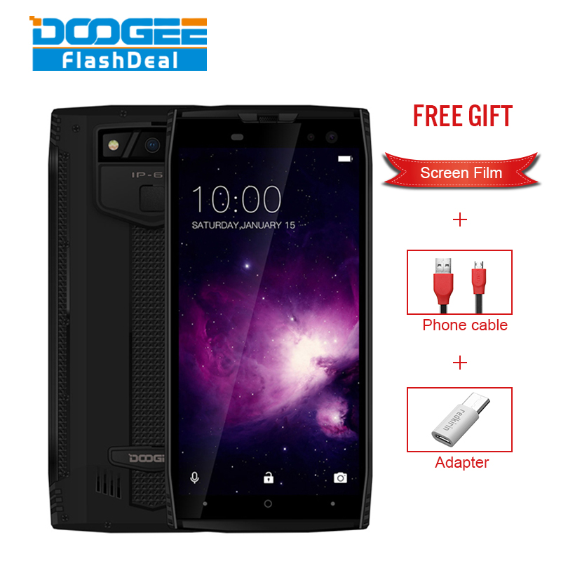 DOOGEE S50 Smartphone IP68 Waterproof face ID 5.7 18:9 6GB 64GB 5180mAh 4 Cams 16MP MTK6763 Octa Core android 7.1 Rugged phones