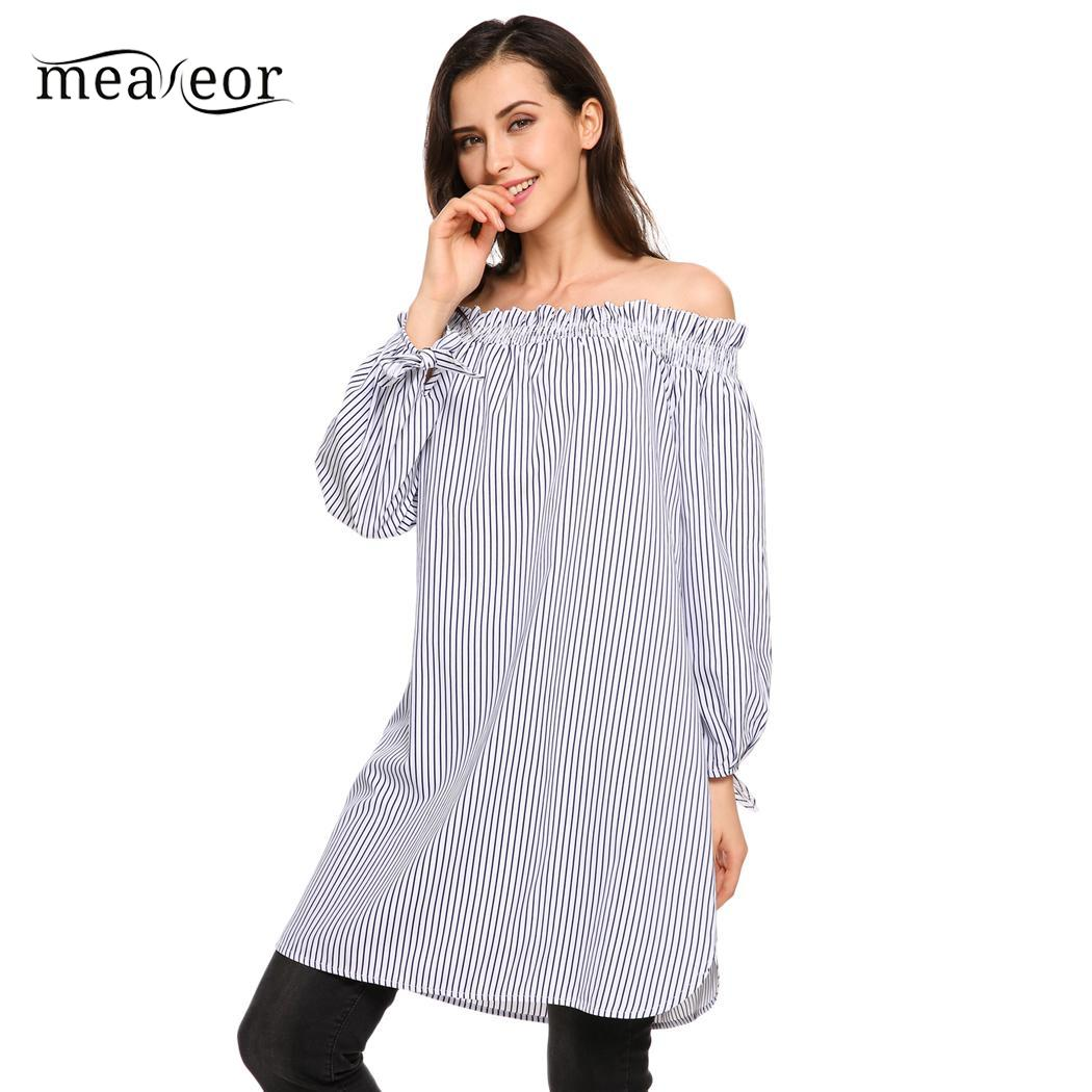 e3f4ced0d7a4a3 Meaneor Cute Striped Women Blouse Shirt Fashion Off Shoulder Shirts Casual  Slash Neck Long Sleeve Autumn Blouse Tees Women Tops