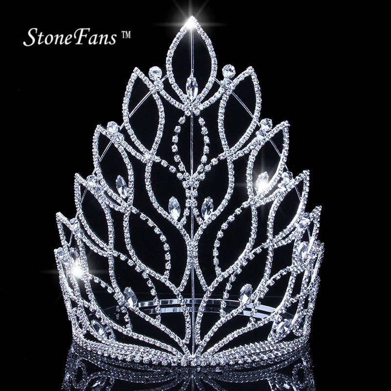 Wholesale Silver Plant Rhinestone Party Bridal Tiara Large Crystal Halloween Party Pageant Crown Tiara For Women Hair Accessory